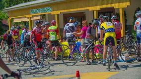 Bikers taking a break during marathon race through Slovenia stock footage