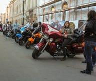 Bikers on their moto. Royalty Free Stock Photo