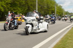 Bikers on their motorcycles in special clothes ride a collar on the outskirts Stock Images
