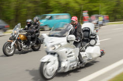 Bikers on their motorcycles in special clothes ride a collar on the outskirts Royalty Free Stock Images
