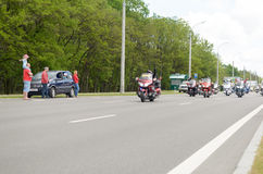 Bikers on their motorcycles in special clothes ride a collar on the outskirts Royalty Free Stock Photography