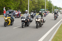 Bikers on their motorcycles in special clothes ride a collar on the outskirts of the city of Brest. Royalty Free Stock Photography