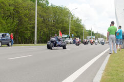 Bikers on their motorcycles in special clothes ride a collar on the outskirts of the city of Brest. Royalty Free Stock Images