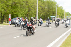 Bikers on their motorcycles in special clothes ride a collar on the outskirts of the city of Brest. Stock Image