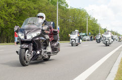 Bikers on their motorcycles in special clothes ride a collar on the outskirts of the city of Brest. Stock Images