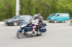 Bikers on their motorcycles in special clothes ride a collar on the outskirts of the city of Brest. Stock Photography
