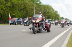 Bikers on their motorcycles in special clothes ride a collar on the outskirts of the city of Brest. Stock Photos