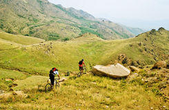 Bikers on top of a mountain Stock Photo