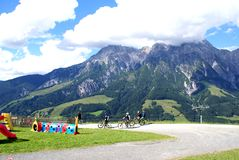 Bikers in the tour around Leogang Park Royalty Free Stock Photography