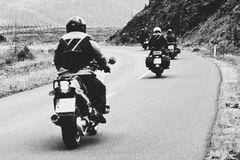 Bikers travel. Black and white film style colors stock photos
