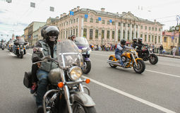 Bikers traveling on the Green Bridge. The annual parade of Harley Davidson in the squares and streets of St. Petersburg Royalty Free Stock Photo
