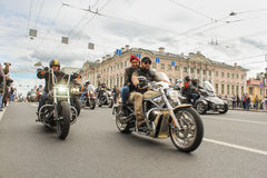Bikers traveling on the Green Bridge over the Moika River. The annual parade of Harley Davidson in the squares and streets of St. Petersburg Stock Photo