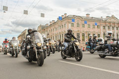 Bikers traveling on Nevsky Prospect. The annual parade of Harley Davidson in the squares and streets of St. Petersburg Stock Photography