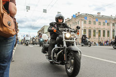 Bikers traveling on Nevsky Prospect. The annual parade of Harley Davidson in the squares and streets of St. Petersburg Stock Image
