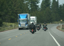 Bikers & trucks Royalty Free Stock Images