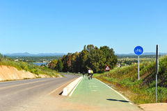 Bikers on the Via de la Plata, Way of Santiago in Badajoz province, Spain Stock Image