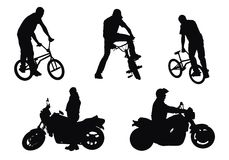 Bikers vs motorcyclists Stock Photo