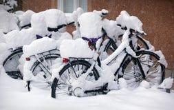 bikes покрыли снежок Стоковые Изображения RF