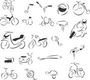 Bikes. 20 themed EPS images related to bikes. The number of vector nodes is absolute minimum. The images are very easy to use and edit and are extremely smooth Stock Images