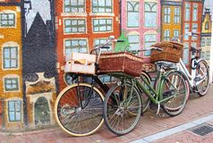 Bikes and urban street art canal houses, Leeuwarden, Friesland, Netherlands Stock Image