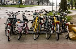 The Bikes all parked up in the city centre Stock Photo