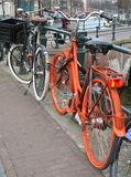 Typical bikes at Keizersgracht,Amsterdam,Holland Royalty Free Stock Photography