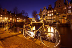 Bikes in Amsterdam the Netherlands. Bikes in the citycenter from Amsterdam Netherlands Stock Photo