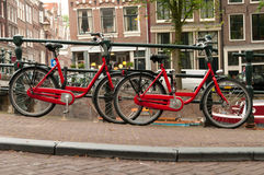Bikes on Amsterdam street Stock Images