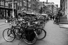 Bikes of Amsterdam. Bikes in Amsterdam on the street Royalty Free Stock Images