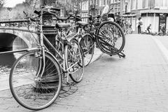 Bikes of Amsterdam. Bikes in Amsterdam on the street Royalty Free Stock Photography