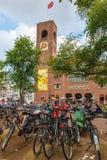 Bikes on Amsterdam street, Holland, Netherlands Stock Photos
