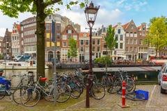 Bikes on Amsterdam street, Holland, Netherlands Royalty Free Stock Photography
