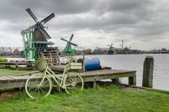 Bikes, Amsterdam, Windmills, Holland Stock Photo