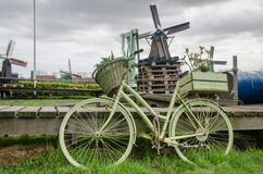Bikes, Amsterdam, Windmills, Holland Stock Images