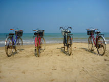 Bikes on the  beach Stock Image