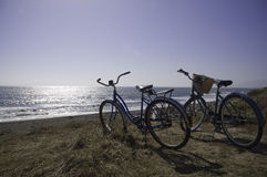 Bikes on the beach. Two bikes are parked on the California beach Stock Photography