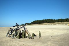 Bikes on a beach Stock Photo
