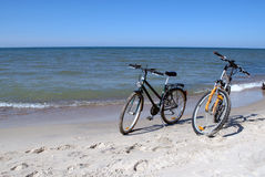 Bikes on a beach Stock Photography