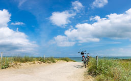 Bikes at the Beach of the Baltic Sea, panorama Stock Images