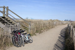 Bikes on the beach, Zeebrugge Royalty Free Stock Image
