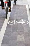 Bikes on bicycle lane Royalty Free Stock Images