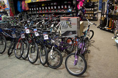 Bikes bike bicycles in sport store Royalty Free Stock Images