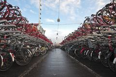 Bikes, bikes and bikes in Amsterdam Netherlands Royalty Free Stock Photography