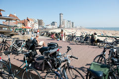 Bikes on the boulevard in Vlissingen Royalty Free Stock Photo