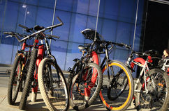 Bikes in Canary Wharf Royalty Free Stock Photos