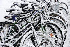 Bikes covered with a blanket of snow Royalty Free Stock Image