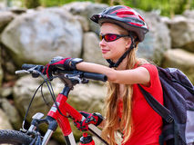 Bikes cycling girl into park. Stock Photography