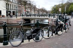 Bikes. In Den Haag, Netherlands, Holland, in spring stock photography