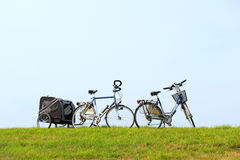 Bikes on the dike Royalty Free Stock Photography