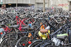 Bikes in Eindhoven, Netherlands. Close up view on bikes parking in Eindhoven in Netherlands stock image